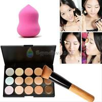 15 Colors Contour Face Cream Makeup Concealer Palette + Sponge Puff Powder Brush