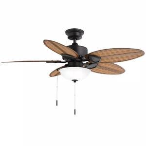 Hampton Bay Lakemoore 48 in. LED Indoor/Outdoor Matte Black Ceiling Fan