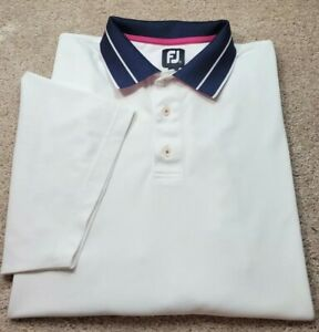FOOTJOY-White Pique Perform.Poly/Spdx, Mens SS/3B, Polo/Golf Shirt-(XXL)