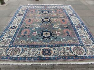 Vintage Hand Made Traditional Oriental Wool Green Pink Large Carpet 282x247cm