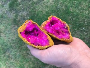 (1) VERY LARGE Tan GEODE Crystal with PINK Druze Center - (Both Halves)