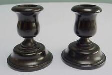 Antique Ebony Candlesticks Squat Victorian  Dressing Table Dresser Black Pair