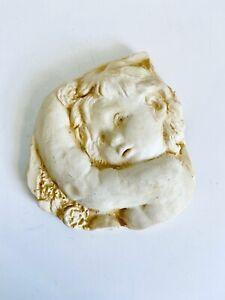 "Vintage Ceramic Angel Cherub Wall Hanging Plaque 4-1/2""H"