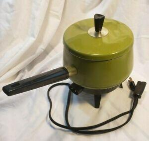 Vintage Chilton Electric Fondue Pot Cooker w/ Temp Control Avocado  MADE IN USA