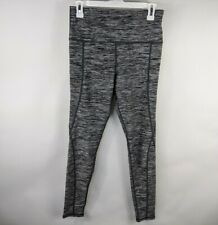 Womens Compression Fitness Leggings Gray Pockets Yoga Pants Gym Workout Size M