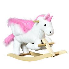Kids Rocking Chair Rocking Horse Plush Unicorn w/ Sing Along Song Pink