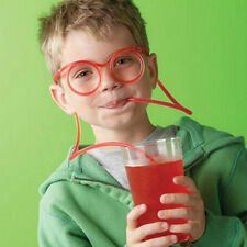 Funny Soft Glasses Straw Flexible Drinking Tube Kids Party Joke Acc Creative Toy