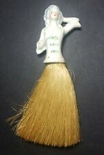 Antique Porcelain Half Doll 19th Century Lady handle Whisk Broom Clothes Brush