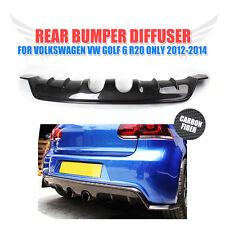 Carbon Fiber Rear Bumper Diffuser Lip Spoiler fit for VW Golf 6 VI MK6 R20 12-14