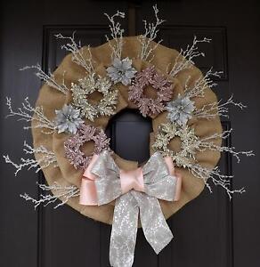 Pink Silver Snowflakes Burlap Christmas Wreath - Winter Wind