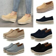 Women's Platform Slip On Loafers Casual Shoes Ladies Wedge Suede Creepers # L