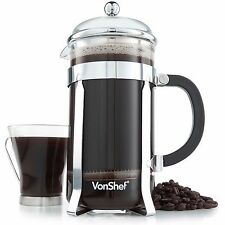 VonShef 12 Cup/1.5 L French Press Stainless Steel Cafetiere Filter Coffee Maker