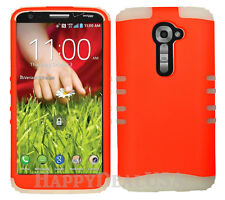KoolKase Hybrid Silicone Cover Case for LG G2 - Neon Orange (FL)