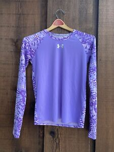 Youth Under Armour Heat Gear Long Sleeve Compression Shirt Purple Youth L Fitted