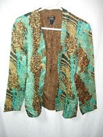 WOMENS BROWN BLUE GREEN CRINKLE MOTHER OF THE BRIDE JACKET BLAZER SIZE L 48