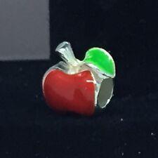 🎁 European Silver CZ Snow White New York Teacher Apple Charm 🇺🇸 US SELLER‼