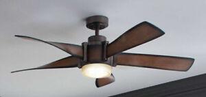 "Kichler 35153A Mediterranean Walnut 5 Blade 52"" Ceiling Fan LED Light and Remote"