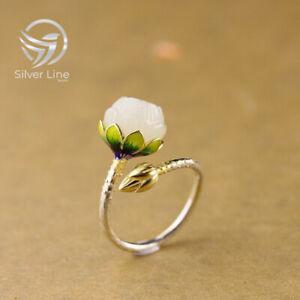 Jade Lotus Gold Enamel Ring 925 Sterling Silver Handmade Women Flower Open Ring