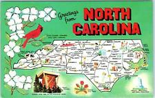 Greetings  from  NORTH CAROLINA  Pictorial  MAP   Dexter Press  Postcard  c1950s