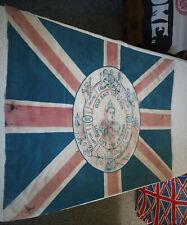 More details for victorian british empire vintage union jack flag dated 1887: old antique