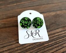 Green Chunky Glitter Circle Stud Earrings Stainless Steel Earrings