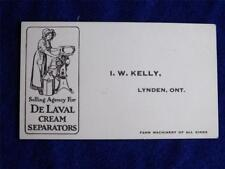 BUSINESS CARD AGENCY FOR DELAVAL CREAM SEPARATORS FARM MACHINERY LYNDEN CANADA