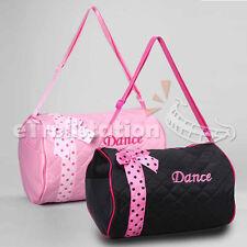 Girls Dance Duffle Bag Kids Quilted Ribbon Polka Dots Light Pink Black  Totes Bag fd4039f5a912d