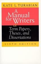 A Manual for Writers of Term Papers, Theses, and Dissertations by Kate L....LOOK