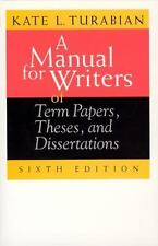 A Manual for Writers of Term Papers, Theses, and Dissertations, 6th Edition (Ch