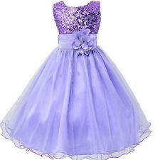 Kids Flower Girl  Party Princess Dress Sequins Wedding Birthday Tulle Dresses