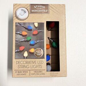 Retro LED String Lights Novelty Vintage Look Bulbs 10 ft 25 Bulb Colorful Decor