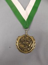 """large gold lamp of knowledge medal 2 1/2"""" size wide green/white neck drape"""