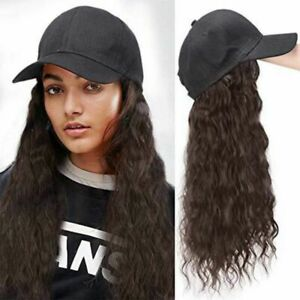 Baseball Cap with Curly Hair Wig Full Wigs Long Natural Wavy HairPiece For Human