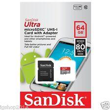 microsd 64gb SanDisk Ultra MICROSD SDXC UHS-I Scheda memoria 80mb/s CLASSE 10