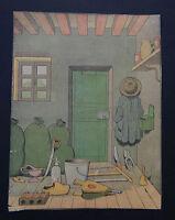 Gravure lithographie BENJAMIN RABIER intérieur de maison siphon soufflet sabot