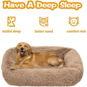 Large Dog Bed XL Orthopedic Long Plush Memory Foam Dog Bed Calming Dog Crate Bed