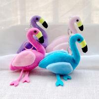 Cartoon Flamingo Plush Keychain Handbag Car Keyring Buckle Key Chains Jewelry JR