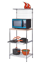 Honey-Can-Do 3-Tier Microwave Bakers Rack with Adjustable Shelf Storage, Chrome