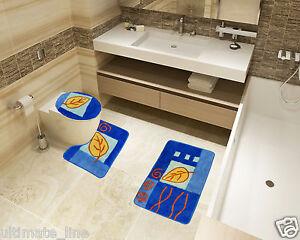 Bath Mat Toilet Rug Set 2 & 3 piece Non Slip Bathroom Pedestal Acrylic Washable