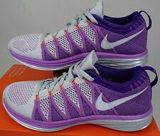 New Womens 10.5 NIKE Flyknit Lunar 2 Purple Running Shoes $160 620658-001