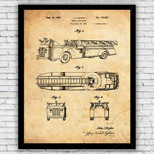 Firefighter Fire Truck Aerial Ladder Patent Print Decor - Size and Frame Options