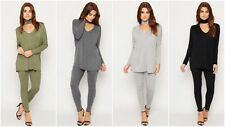 Womens Ladies Cut Out Choker Neck Loungwear Tracksuit Jogger Set PLUS SIZE 16-26