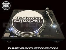 2 custom Matte black Technics SL 1200 mk2's white leds laser etch logos