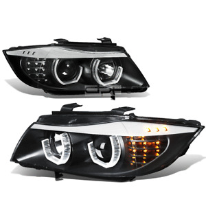 Fit 09-12 BMW E90 3-Series Black 3D Crystal Halo Projector Headlight+Led Corner