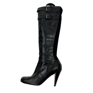 Cole Haan Air Jalisa Tall Heeled Black Leather Side Zip Boots Strap Buckle 9 B