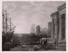 "CLAUDE LORRAIN 1800s Engraving ""Seaport in the Mediterranean"" FRAMED SIGNED COA"