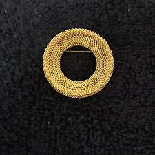 Mesh Brooch Gold Tone Circular