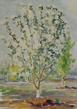 Original Soviet Ukrainian Oil Painting Vintage Artwork Landscape Blooming Garden