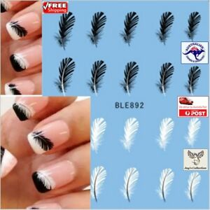 1 pcs Black White Feather Nail Art Decal Stickers Tips Decoration [A3L~B32]