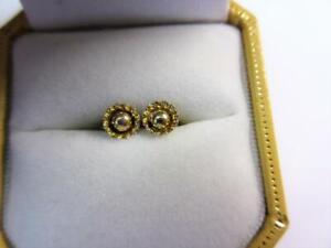 Vintage SOLID 9ct GOLD 'Flower Head' DESIGN STUD EARRINGS!